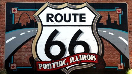 La Route 66 à Pontiac, Illinois